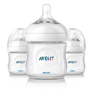Kit com 3 mamadeiras Avent Natural 125 ml